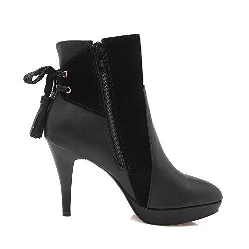 VogueZone009 Damen Stiletto Reißverschluss Niedrig-Spitze Blend-Materialien Stiefel, Schwarz, 43
