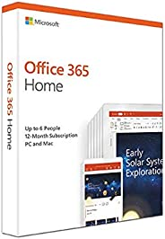 Microsoft Office 365 Home for 6 users (Windows/Mac Laptop + tablet) for 12 month/1 Year - (Activation Key Card