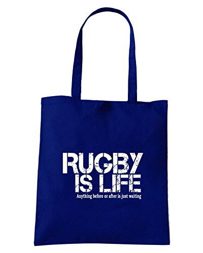 T-Shirtshock - Borsa Shopping T0791 rugby is life sport Blu Navy