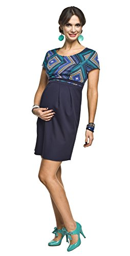 2in1 Elegantes und bequemes Umstandskleid/Stillkleid, Modell: Ronja, blau-türkis
