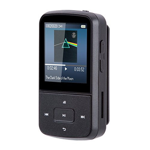 AGPTEK Bluetooth MP3 Player 8GB Mini Clip MP3 Tragbare 1,5 Zoll Display Musik Player 24 Stunden Wiedergabe mit FM, G05S, Schwarz - Mp3-player Sansa Mit Bluetooth