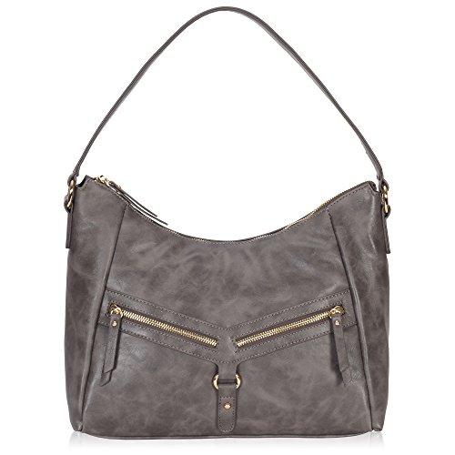 Veevan Damen Retro Schultertasche Vintage Handtasche Henkeltasche Dunkelkaffee Grau