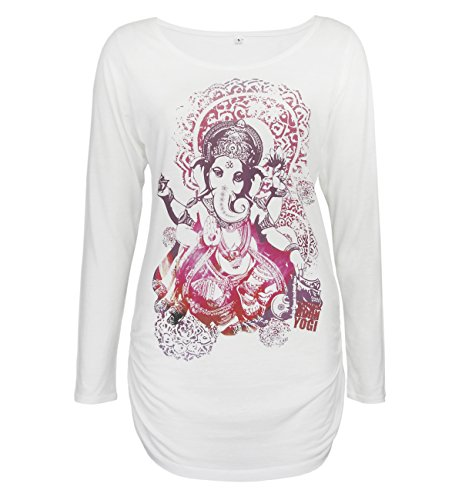 Natural Born Yogi Yoga T-shirt à manches longues Groovy Ganesha Deluxe, blanc, S, wold. S.01 de Grog