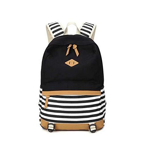 HEZET Casual Rucksack Tasche Klassische Nylontasche Leinwand Umhängetasche weibliche Mode koreanischen Druck Frauen Tasche 2019 Neue Gymnasiast Tasche schwarz gestreiften Canvas Rucksack - Koreanischen Tasche