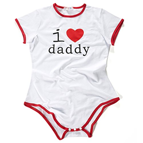 LittleForBig Adult Baby Onesie Diaper Lover (ADBL) Snap Crotch Romper Pajamas - I Love Daddy Pattern