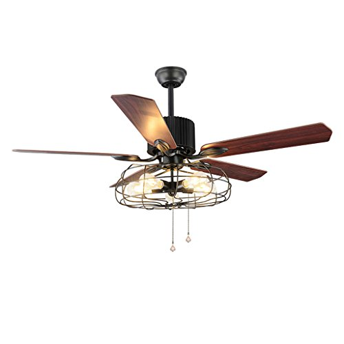 Industrielle Windmühle Deckenventilator Continental Retro Bar Restaurant mit Lampe Lüfter Fernbedienung Wooden Silent Fan -