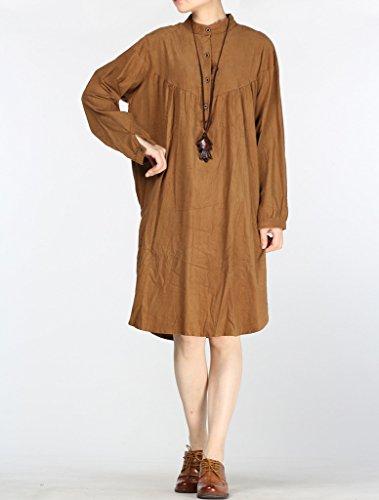 MatchLife Femme Velours Côtelé Taille Haute en Robe Style1-Café