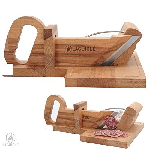 LAGUIOLE - Guillotine, ou coupe saucisson Laguiole, en hêtre, lame inoxydable et affutable.