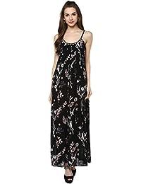 Taurus Women's Rayon Black Midnight Garden Dress