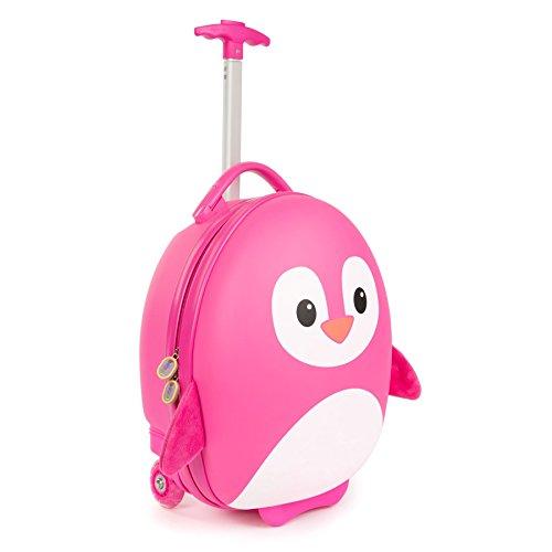 Boppi tiny trekker trolley per bambini bagaglio a mano trolley con maniglia trolley leggero con ruote valigia a mano 17 litri - pinguino rosa