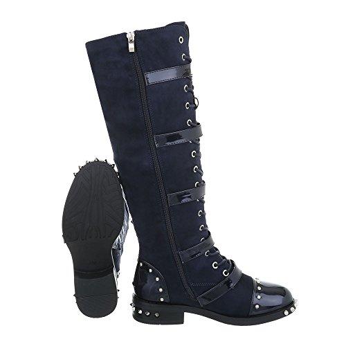Ital-Design Chaussures Femme Bottes et Bottines Bloc Western- & Bikerbottes Bleu foncé A-50