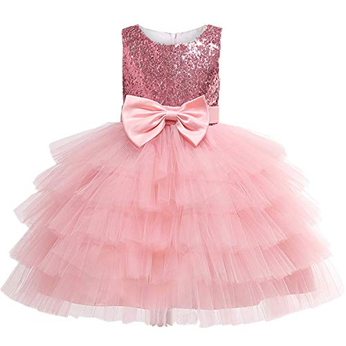 Baby Girls Flower Striped Dress for Girls Unicorn Wedding Party Dresses Kids Princess Christmas Dress Children Girls Clothing Rose Red 6 Chantilly Rose
