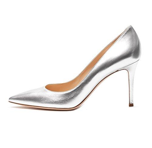 Soireelady Damen Übergröße Stiletto Abendschuhe Pumps Silber Größe 36
