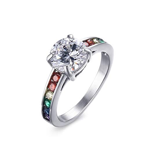 Beydodo 925 Silber Ring Verlobung AAAA Bunten Zirkonia Rund Hochzeitsring Silber Freundschaftsring Größe 62 (19.7)