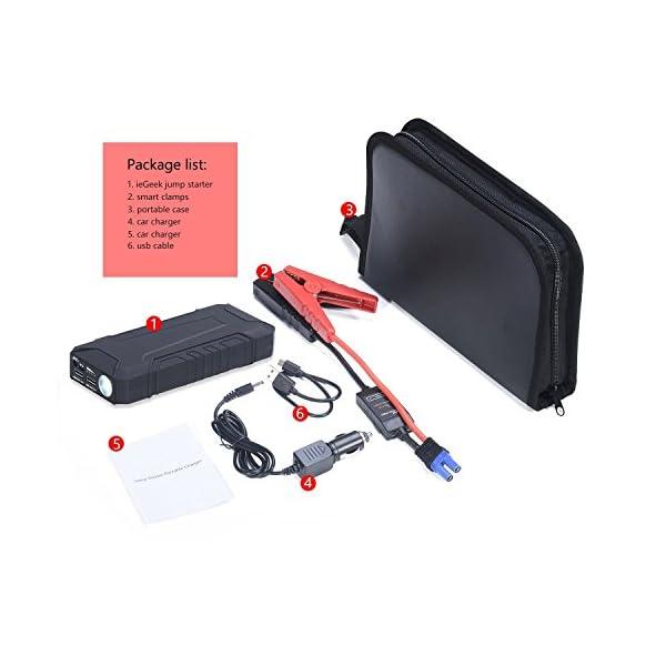 ieGeek – Arrancador de Coche 12000mAh, 600A Jump Starter Cargador de 12V Batería Para Vehículo (Batería Externa, LED, Arranque Kit Para Coche) Negro