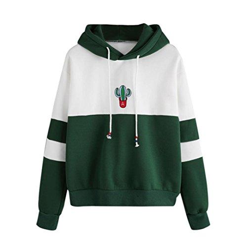 Longra Damen Kapuzenpullover Langarm Cactus Print Pulli Hoodies Kapuzensweatshirt Kapuzenjacke Outerwear Pullover (XL, Green) (Damen-t-shirts Cactus)