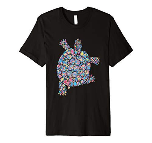 Buntes Schildkröte Tshirt Farbvolles Tier Design Kleidung - Tier Kleidung Damen