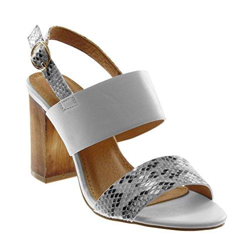 Bianco Angkorly Serpente Pattino Pelle Cm Modo Alto Di Pattino 9 Donne Blocco Caviglia Sandalo 5 Tacco fZdqUZr