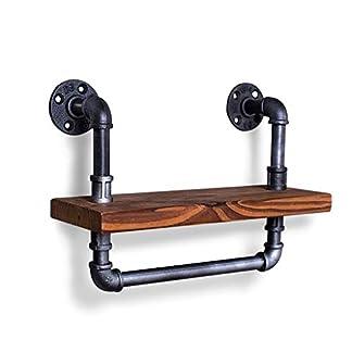4148OepW53L. SS324  - Estanterías para estantes industriales Montadas en la pared, barra para colgar, Toallero, soporte de tubos de hierro y placa de madera, Cuarto de baño retro pared arte decoración almacenamiento