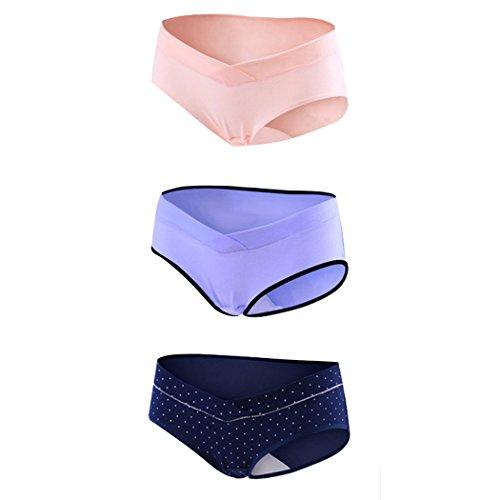 KUCI® Schwangerschaft Unterwäsche Frauen prägnante Baumwolle niedrige Taille U-förmige Schwangerschaft Schlüpfer 3Pack