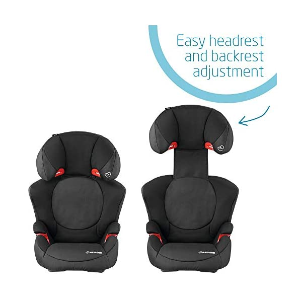 Maxi-Cosi Rodi XP2 Group 2/3 Car Seat, Night Black Maxi-Cosi Forward facing group 2/3 car seat suitable for children from 15 to 36 kg (approx. 3.5 to 12 years) Optimal side crash protection for head, lower back and hips Backrest grows along with your child in both length and width 5