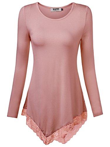 Rose Tie Dye T-shirt (DJT Damen Langarmshirt Asymmetrisch Spitzen T-Shirt Stretch Longshirt Rose Medium)