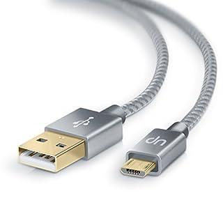 Uplink - 3m Premium Micro USB sur USB Câble en Nylon Tressé | pour Smartphone, Téléphone Portable et Tablette | charge et synchronisation | connecteur en aluminium | argent