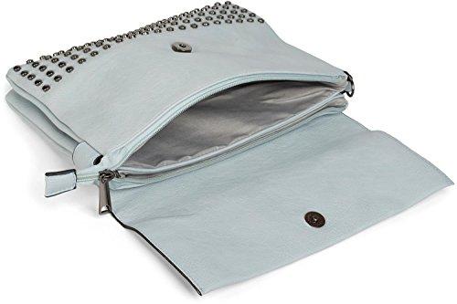 styleBREAKER Clutch mit Nieten, Abendtasche, Schulterriemen, Trageschlaufe, Schultertasche, Damen 02012227, Farbe:Schwarz Hellblau