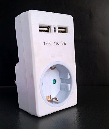 USB maschio/Caricatore USB con protezione bambini e sensore di luce Multi spina presa 1x Schuko + 2x spina multipla USB Adattatore spina protezione contatto