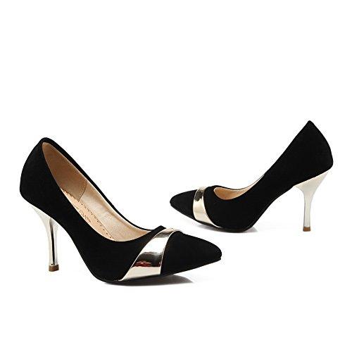 balamasa Mesdames talon Fashion cone-shape couleurs assorties Imitation cuir pumps-shoes Noir