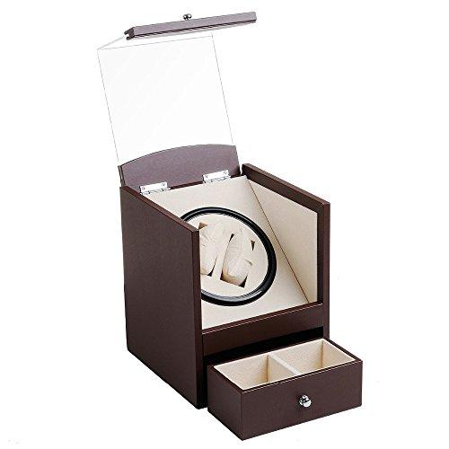 L.HPT® Uhrenbox Auto Rotation Uhrenbewegeruhrenbox Zwei Grids Transparente Abdeckung Quaderform Armbanduhr Box mit Schublade