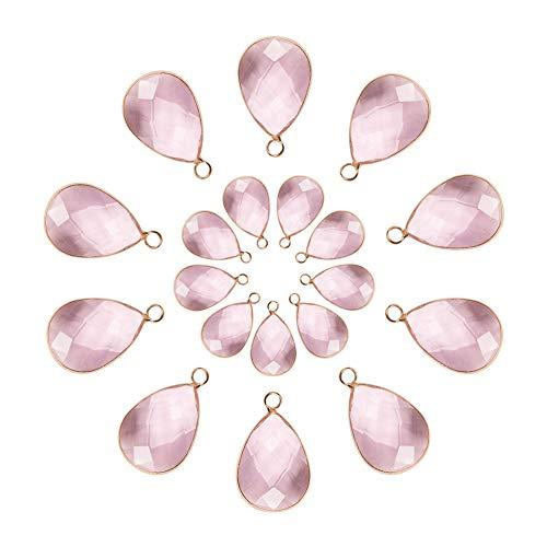 2 Größen Facettierte Teardrops Kristall Perle Rosa Glas Anhänger Charms Drop Glas Baumeln für Halskette Schmuck Machen ()