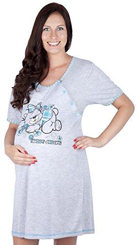 Mija - 2 en 1 Maternité / allaitement / coton robe de nuit 2055 U (EU 44, Vert foncé)