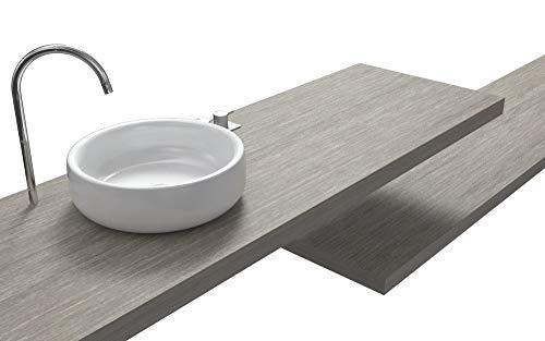 Ve.ca-italy mensole lavabo su misura 100% made in italy resistenti all'acqua incluse staffe a scomparsa in 6 diverse finiture (140x40x8 cm, rovere grigio)
