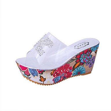 Rtry Printemps Eté Sandales Confort Confort Silice Gel Sportswear Talon Plat Coin Rivet Talon Or Ruban Us6 / Eu36 / Uk4 / Cn36