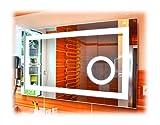 SBC Badspiegel mit LED Beleuchtung und integriertem 5X Kosmetikspiegel, Licht Spiegel 110x65 cm