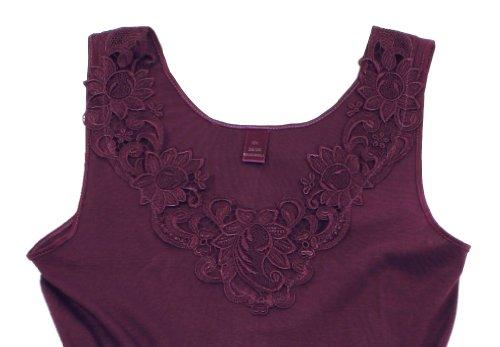 2 Stück Da. Shirt-Top- Unterhemden Gekämmte Baumwolle mit extra großer Spitze Ohne Seitennaht Bordeaux