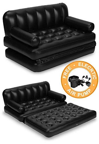 SKY LINE 5 in 1 Inflatable 3-Seater Queen Size Sofa Cum Bed with Pump (74x60x25 Inches, Black)