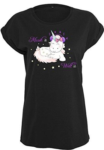 Damen T-Shirt Ladies Extended Shoulder Tee Damenshirt Unicorn Einhorn cutie Kopfhörer Headphone Music Musik an Welt aus Schwarz