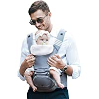 Bebamour Baby Carrier Hip Seat 6 in 1 Clasical Baby Carrier Backpack 0-36 Months with 3PCS Baby Drool Bibs, Convertible Baby Carrier (Noble Grey)