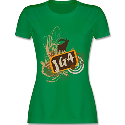 JGA Junggesellinnenabschied - JGA Hirsch Grunge - tailliertes Premium T-Shirt mit Rundhalsausschnitt für Damen Grün