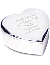 Personalised Engraved Flower Girl Heart Trinket