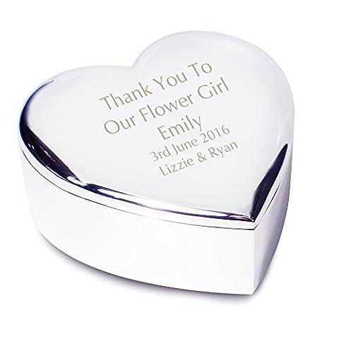 Personalised Engraved Flower Girl Heart Trinket