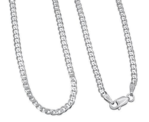 Panzerkette 925 Sterling Silber rhodiniert 3mm breit Länge wählbar 45 50 55 cm Silberkette anlaufgeschützt Halskette Kette Damen Herren (50)