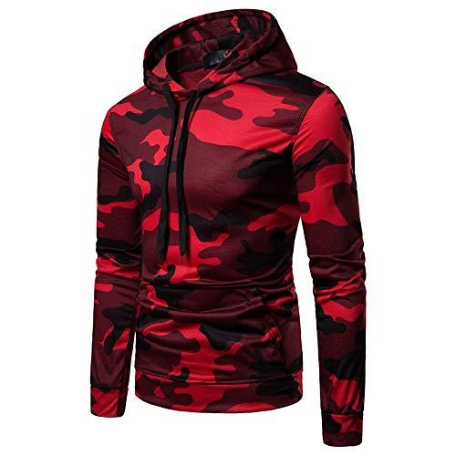 KPILP Mens Herbst Beiläufig Tarnung Slim Fit Langarm-Sweatshirt Pullover Hoodie Mantel Oben(Rot, EU-52/CN-XXL
