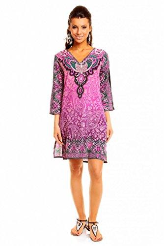 Femmes Looking Glam Imprimé Tribal Tunique Caftan Haut Été Robe Midi - Taille 10 - 18 Pourpre