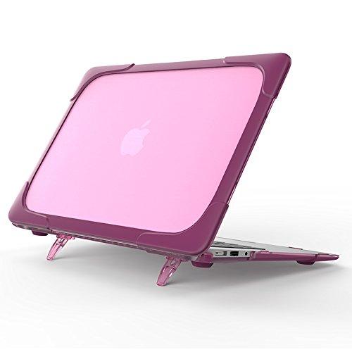 Preisvergleich Produktbild MacBook Air 11 Hülle, Roreikes Heavy Duty Ultra Slim Hochwertige Gummierte Tasche Schutzhülle strapazierfähig Hartschalen-Hülle Anti-fallen Case Dual Layer Hülle mit TPU Stoßfänger für MacBook Air 11 Zoll (A1370 / A1465)-Lila