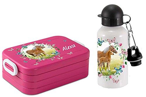 Preisvergleich Produktbild SET Lunchbox Rosti Mepal Maxi Take A Break midi Brotdose Brotbox und Alu-Trinkflasche mit eigenem Namen Pferdewiese mit Schmetterlingen (pink)