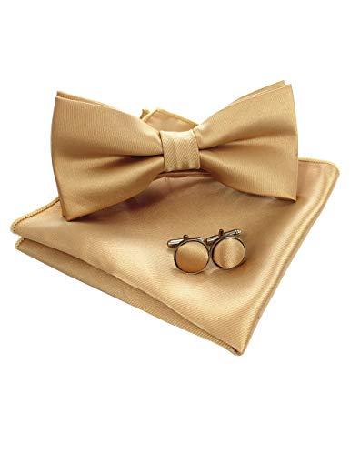 JEMYGINS Gold Fliege und Einstecktuch mit Manschettenknöpfe Sets für Herren Hochzeit Seidenfliegen(2)