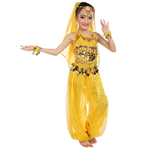 Kinder Girl Hit Kostüm - Fasching Mädchen Kostüm, FNKDOR Tüll Kleid Ägypten Bauchtänzerin Pailletten Karneval (Höhe: 146-155CM, Gelb)
